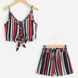 Striped Two Piece Set   Crop Top & Shorts